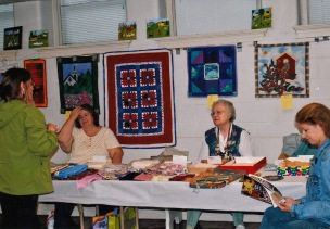 Rhonda Harrell, Marilyn Estes, Joanne Smith, and Eva Foster at Quilt Show
