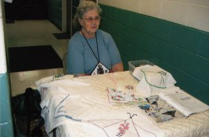 Catherine Williams demonstrates tatting at Quilt Show (2009?)